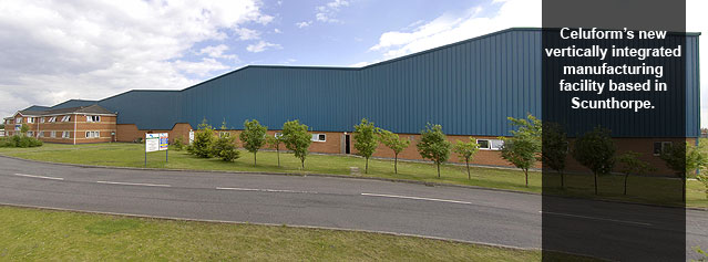 Celuform's new vertically integrated manufacturing facility based in Scunthorpe.